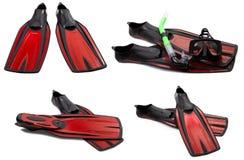Insieme delle alette di nuotata, della maschera e della presa d'aria rosse per tuffarsi Fotografia Stock Libera da Diritti