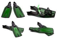 Insieme delle alette di nuotata, della maschera e della presa d'aria verdi per tuffarsi Fotografia Stock