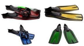 Insieme delle alette di nuotata multicolori, della maschera e della presa d'aria per tuffarsi Fotografia Stock