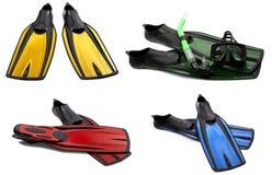 Insieme delle alette di nuotata multicolori, delle maschere e della presa d'aria Immagini Stock Libere da Diritti