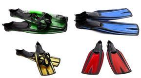 Insieme delle alette di nuotata multicolori, delle maschere e della presa d'aria per tuffarsi Immagine Stock Libera da Diritti