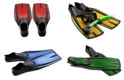 Insieme delle alette di nuotata multicolori, maschera, presa d'aria per l'immersione con il wat Immagine Stock Libera da Diritti