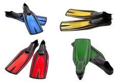 Insieme delle alette di nuotata multicolori per tuffarsi Fotografia Stock Libera da Diritti