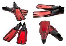 Insieme delle alette di nuotata rosse per tuffarsi Fotografia Stock