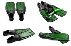 Insieme delle alette di nuotata verdi, maschera, presa d'aria per tuffarsi Immagini Stock Libere da Diritti