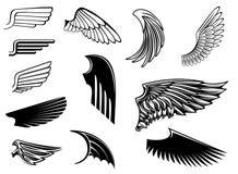 Insieme delle ali araldiche Fotografia Stock Libera da Diritti
