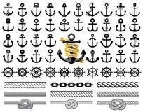 Insieme delle ancore, delle icone dei timoni e delle corde Illustrazione di vettore royalty illustrazione gratis