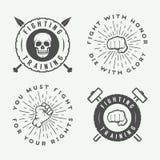Insieme delle arti marziali miste d'annata o del logos del club di combattimento, emblema illustrazione di stock
