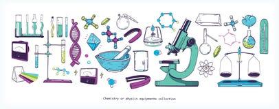 Insieme delle attrezzature e degli strumenti di laboratorio di fisica e di chimica isolati su fondo bianco - microscopio, provett illustrazione di stock