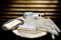 Insieme delle attrezzature per la pulizia Fotografia Stock Libera da Diritti