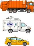 Insieme delle automobili differenti: camion di immondizia, automobile del taxi e Fotografie Stock Libere da Diritti