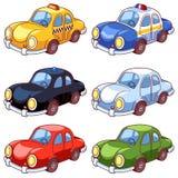 Insieme delle automobili differenti del fumetto Fotografia Stock