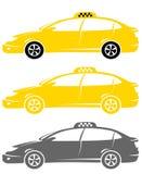 Insieme delle automobili moderne isolate del tassì Fotografia Stock