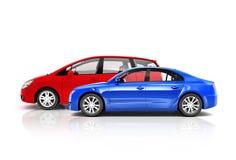 Insieme delle automobili multicolori 3D Immagini Stock