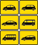 Insieme delle automobili sui bottoni gialli Immagine Stock
