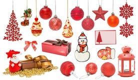 Insieme delle bagattelle rosse del nuovo anno per il Natale Fotografia Stock Libera da Diritti