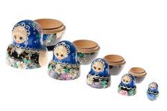 Insieme delle bambole di matryoshka isolate su bianco Fotografie Stock