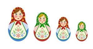 Insieme delle bambole russe di incastramento Immagini Stock