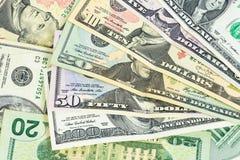Insieme delle banconote dei dollari americani Immagini Stock