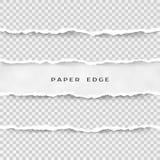 Insieme delle bande di carta lacerate Struttura di carta con il bordo nocivo isolato su fondo trasparente Illustrazione di vettor illustrazione di stock