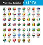 Insieme delle bandiere africane - Vector intorno alle icone illustrazione di stock