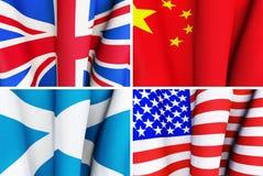 Insieme delle bandiere d'ondeggiamento Immagine Stock Libera da Diritti