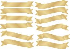 Insieme delle bandiere dell'oro Immagine Stock Libera da Diritti