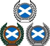 Insieme delle bandiere della Scozia con la corona dell'alloro Immagini Stock