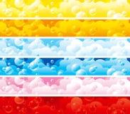 Insieme delle bandiere di colore con le bolle Fotografia Stock