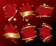 Insieme delle bandiere di colore rosso di festa Immagine Stock