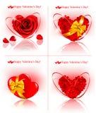 Insieme delle bandiere di giorno del `s del biglietto di S. Valentino. Cuori rossi fatti di Fotografia Stock Libera da Diritti