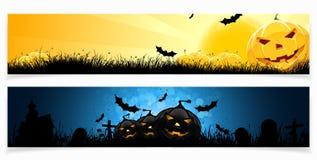 Insieme delle bandiere di Halloween Immagini Stock