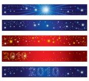 Insieme delle bandiere di natale con le stelle Immagine Stock