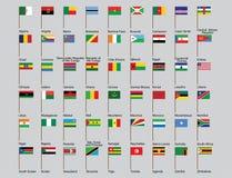 Insieme delle bandiere di paesi africani Immagine Stock