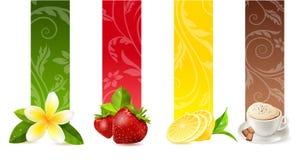 Insieme delle bandiere differenti dell'alimento Immagine Stock Libera da Diritti