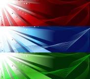 Insieme delle bandiere luminose illustrazione vettoriale