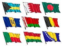 Insieme delle bandiere nazionali Fotografie Stock Libere da Diritti