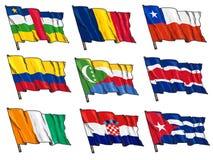 Insieme delle bandiere nazionali Fotografia Stock Libera da Diritti