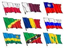 Insieme delle bandiere nazionali Fotografie Stock