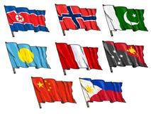 Insieme delle bandiere nazionali Immagini Stock
