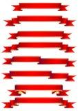 Insieme delle bandiere rosse Fotografie Stock Libere da Diritti