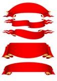 Insieme delle bandiere rosse Fotografia Stock Libera da Diritti