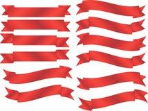 Insieme delle bandiere rosse Immagini Stock