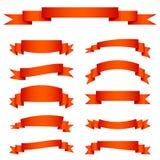 Insieme delle bandiere rosse del nastro Immagini Stock Libere da Diritti