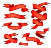 Insieme delle bandiere rosse del nastro Immagine Stock Libera da Diritti