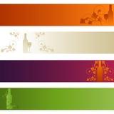 Insieme delle bandiere: Tema del vino Fotografie Stock