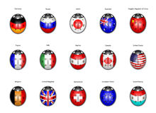Insieme delle bandierine dei paesi sotto forma di le coccinelle Immagini Stock