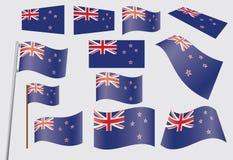 Insieme delle bandierine della Nuova Zelanda Fotografia Stock
