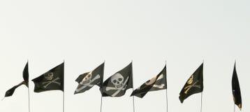 Insieme delle bandierine di pirata differenti Fotografia Stock Libera da Diritti