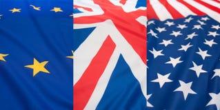Insieme delle bandierine - S.U.A., Regno Unito ed Ue Fotografia Stock